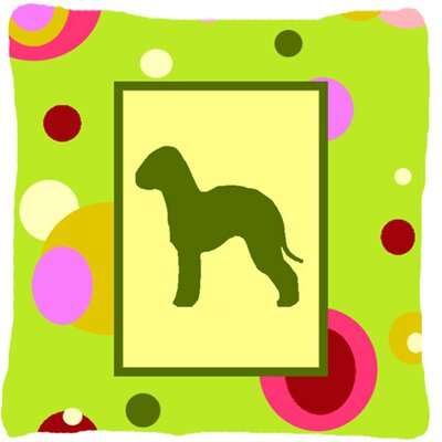 Bedlington Terrier Indoor/Outdoor Green Throw Pillow