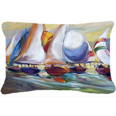 Sailboat Race in Dauphin Island Indoor/Outdoor Throw Pillow