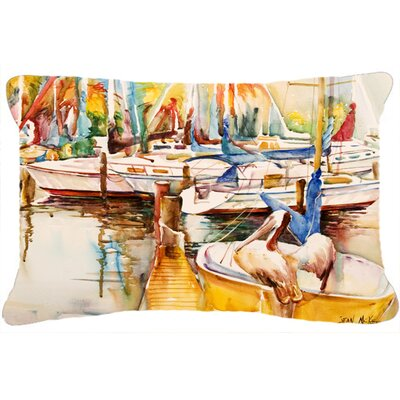 Sailboat with Pelican Golden Days Indoor/Outdoor Throw Pillow