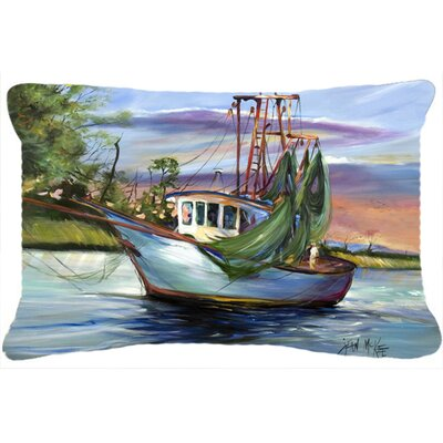Finley Coastal Boat Indoor/Outdoor Throw Pillow