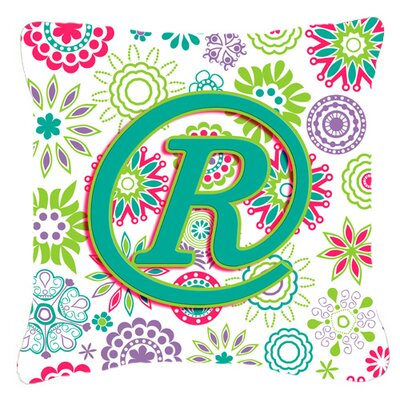 Monogram Initial Flowers Indoor/Outdoor Throw Pillow