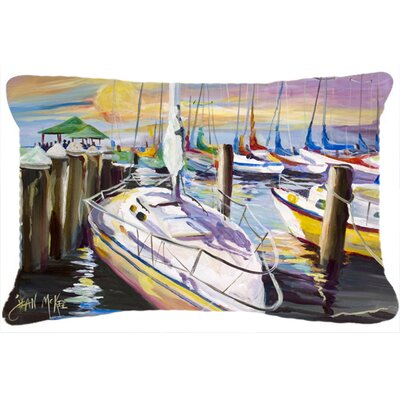 Sailboat at The Fairhope Yacht Club Docks Indoor/Outdoor Throw Pillow