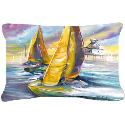 Sailboat with Middle Bay Lighthouse Indoor/Outdoor Throw Pillow