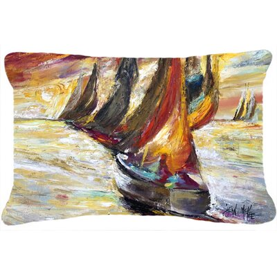 Red Sails Sailboat Indoor/Outdoor Throw Pillow