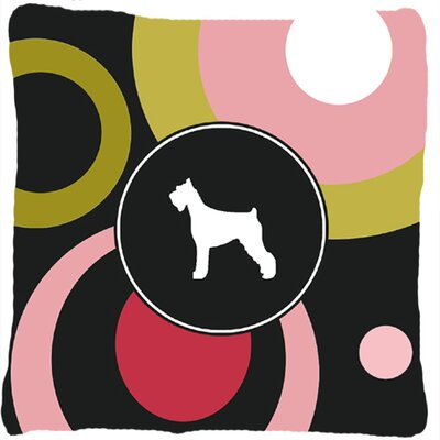 Schnauzer Indoor/Outdoor Black/Pink Throw Pillow