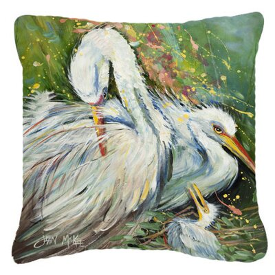White Egret in The Rain Indoor/Outdoor Throw Pillow Size: 18 H x 18 W x 5.5 D