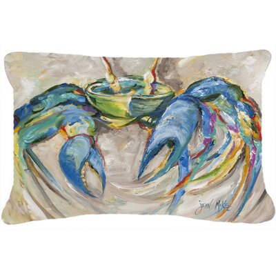 Crab Indoor/Outdoor Rectangular Blue/Gray Throw Pillow