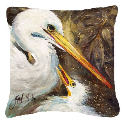 White Egret Feeding Baby Indoor/Outdoor Throw Pillow Size: 14 H x 14 W x 4 D
