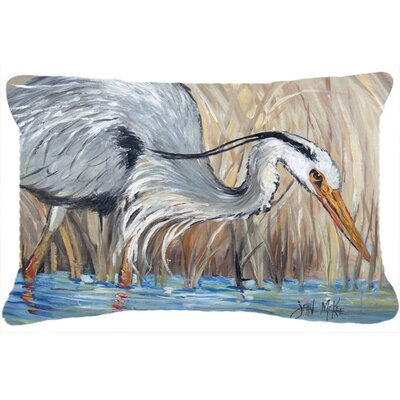 Blue Heron in The Reeds Indoor/Outdoor Throw Pillow