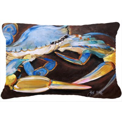 Crab Indoor/Outdoor Blue/Brown Throw Pillow