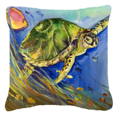 Loggerhead Sea Turtle Indoor/Outdoor Throw Pillow Size: 14 H x 14 W x 4 D