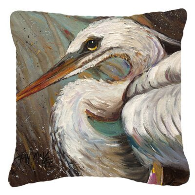 White Egret Indoor/Outdoor Throw Pillow Size: 14 H x 14 W x 4 D