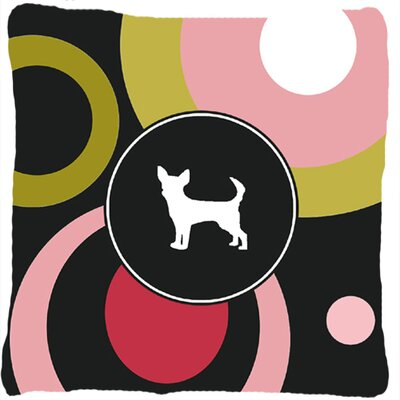 Chihuahua Indoor/Outdoor Black/Pink Throw Pillow