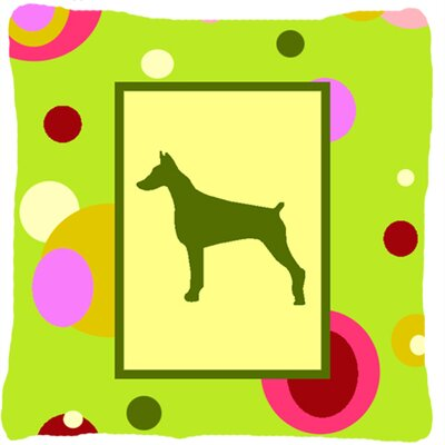 Doberman Polka Dots Green Indoor/Outdoor Throw Pillow