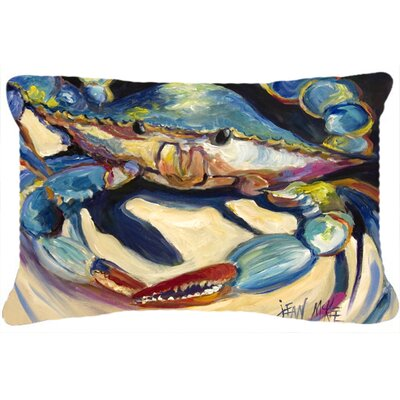 Crab Indoor/Outdoor Rectangular Blue/Beige Throw Pillow