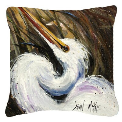 White Egret Indoor/Outdoor Throw Pillow Size: 14 H x 14 W x 4 D