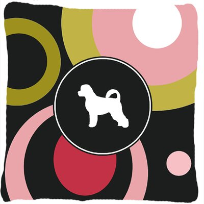 Portuguese Water Dog Indoor/Outdoor Black/Pink Throw Pillow