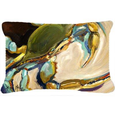 Modern Blue Crab Indoor/Outdoor Throw Pillow