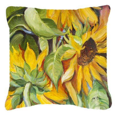 Landon Square Sunflowers Indoor/Outdoor Throw Pillow Size: 14 H x 14 W x 4 D
