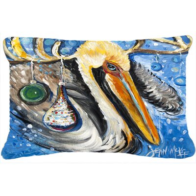 Pelican Dressed As A Reindeer Indoor/Outdoor Throw Pillow