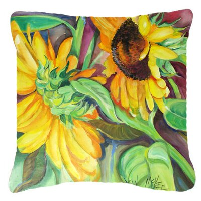 Landon Square Sunflowers Indoor/Outdoor Fabric Throw Pillow Size: 14 H x 14 W x 4 D