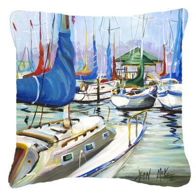 Day Break Sailboats Indoor/Outdoor Throw Pillow Size: 18 H x 18 W x 5.5 D
