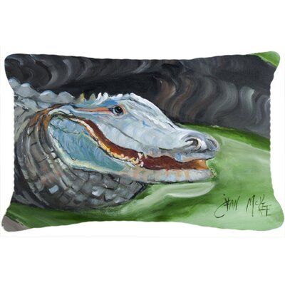 Alligator Green/Gray Indoor/Outdoor Throw Pillow