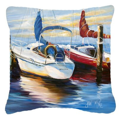 Symmetry Sailboats Indoor/Outdoor Throw Pillow Size: 14 H x 14 W x 4 D
