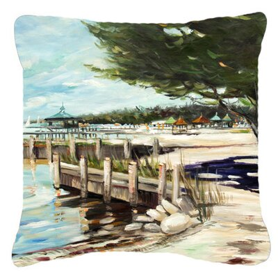 At The Pier Sailboats Indoor/Outdoor Throw Pillow Size: 14 H x 14 W x 4 D