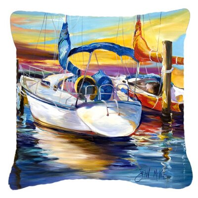 Symmetry Again Sailboats Indoor/Outdoor Throw Pillow Size: 14 H x 14 W x 4 D