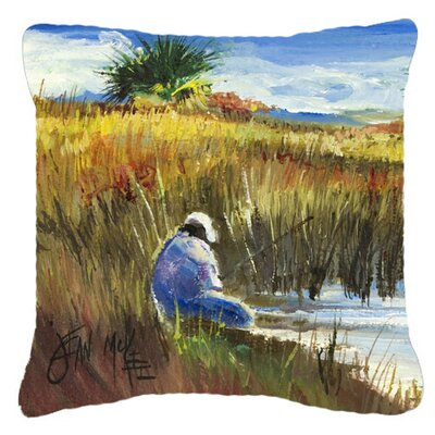 Fishing on The Bank Indoor/Outdoor Throw Pillow Size: 14 H x 14 W x 4 D