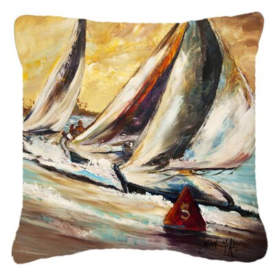 Boat Race Sailboats Indoor/Outdoor Throw Pillow Size: 14 H x 14 W x 4 D