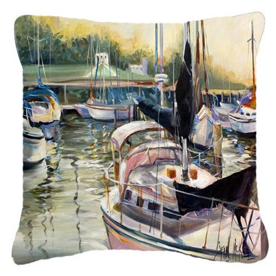 Black Sails Sailboats Indoor/Outdoor Throw Pillow Size: 18 H x 18 W x 5.5 D