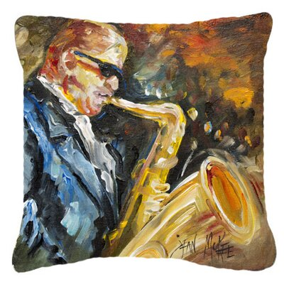 Jazz Sazophone Indoor/Outdoor Throw Pillow Size: 14 H x 14 W x 4 D