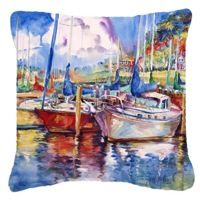 Tree Boats Sailboats Indoor/Outdoor Throw Pillow Size: 14 H x 14 W x 4 D