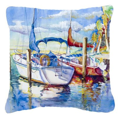 Towering Q Sailboats Indoor/Outdoor Throw Pillow Size: 14 H x 14 W x 4 D