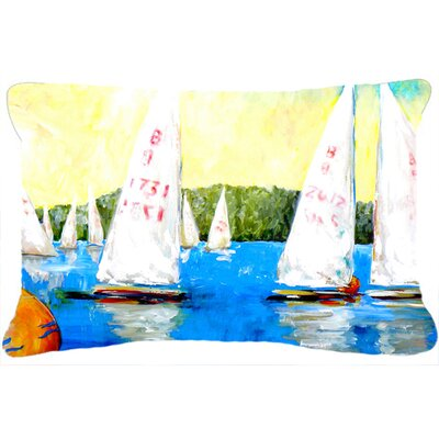 Sailboats Round The Mark Indoor/Outdoor Throw Pillow