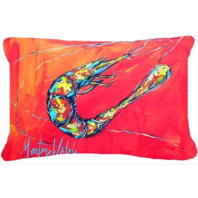 Shrimp Seafood III Indoor/Outdoor Throw Pillow Color: Red