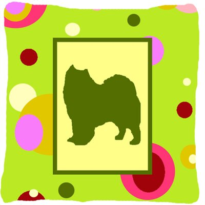 Samoyed Indoor/Outdoor Green Throw Pillow