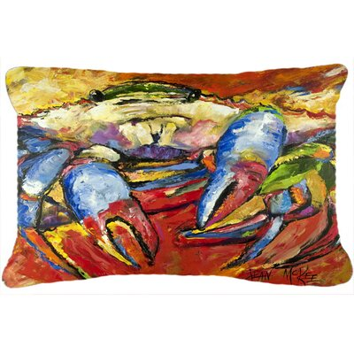 Blue Crab Red Indoor/Outdoor Throw Pillow