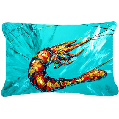 Shrimp Seafood III Indoor/Outdoor Throw Pillow Color: Teal