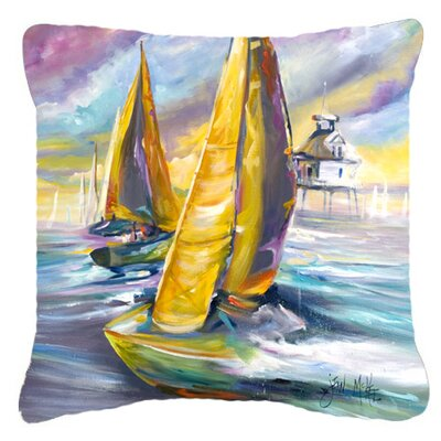 Middle Bay Lighthouse Sailboats Indoor/Outdoor Throw Pillow Size: 14 H x 14 W x 4 D