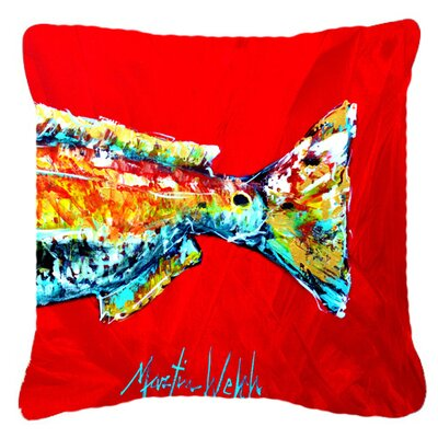 Red Fish Alphonzo Tail Indoor/Outdoor Throw Pillow Size: 18 H x 18 W x 5.5 D