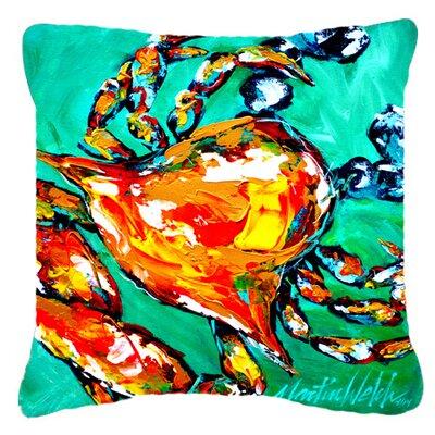 Crab Indoor/Outdoor Orange/Blue Throw Pillow Size: 14 H x 14 W x 4 D