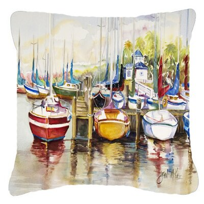 Paradise Sailboats Indoor/Outdoor Throw Pillow Size: 14 H x 14 W x 4 D