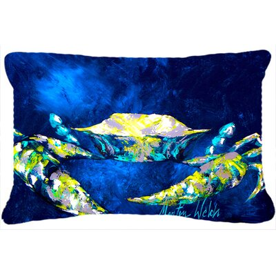 Burgett Crab Tealy Indoor/Outdoor Throw Pillow