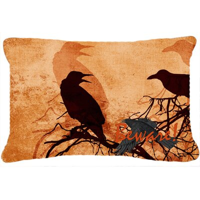 Beware of The Black Crows Halloween Indoor/Outdoor Throw Pillow