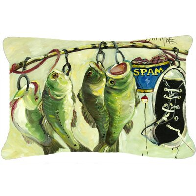 Recession Food Fish Caught with Spam Indoor/Outdoor Throw Pillow