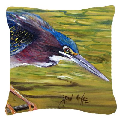 Green Heron Indoor/Outdoor Throw Pillow Size: 14 H x 14 W x 4 D