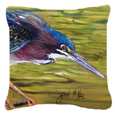 Green Heron Indoor/Outdoor Throw Pillow Size: 14 H x 14 W x 4 D